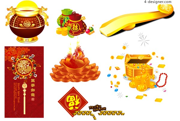 Chinese New Year festive gold and silver ingot element vector material