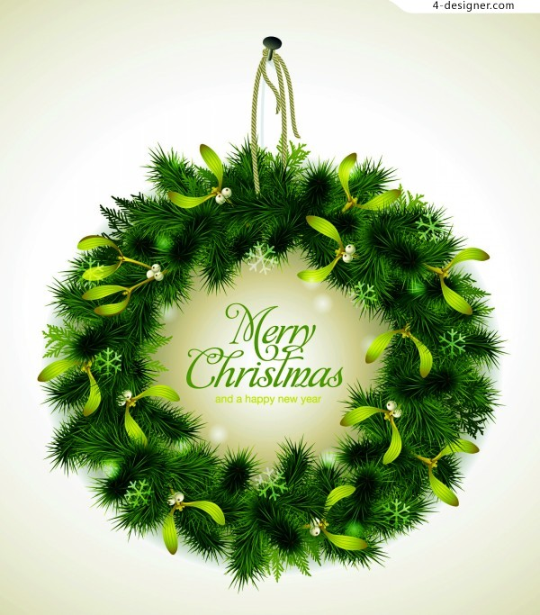 Christmas pine hanging ring vector material