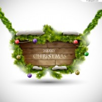 Christmas pine plank decoration vector material