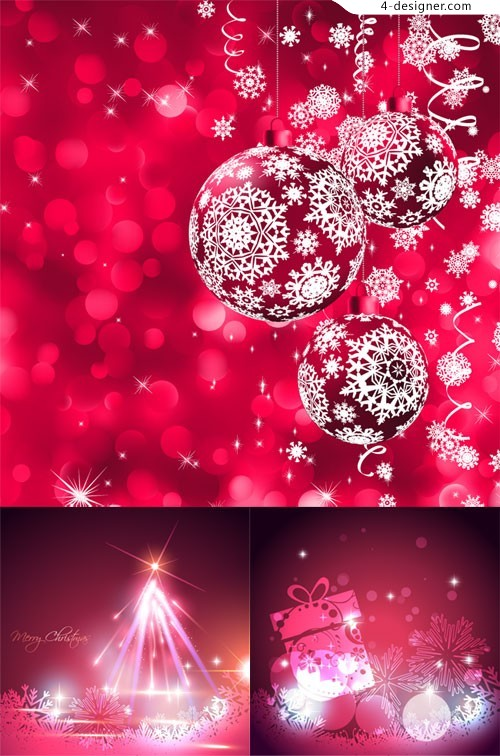 Christmas red bright color vector material
