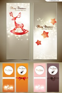 Christmas themed cards vector material