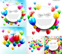 Color balloons decorative text background vector material