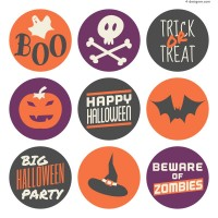Color round Halloween sticker vector material