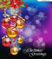 Colored Christmas hanging ball Vector material