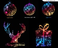 Colorful Christmas element vector material