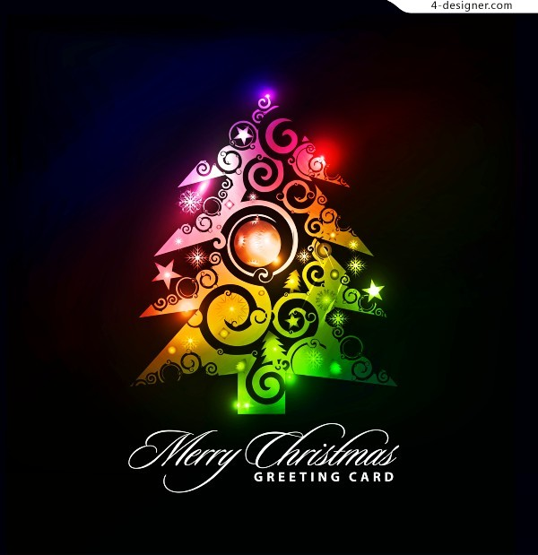 Colorful charming Christmas card vector material