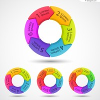Colorful round information graph design vector material