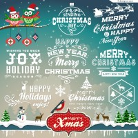 Creative Christmas WordArt design vector material