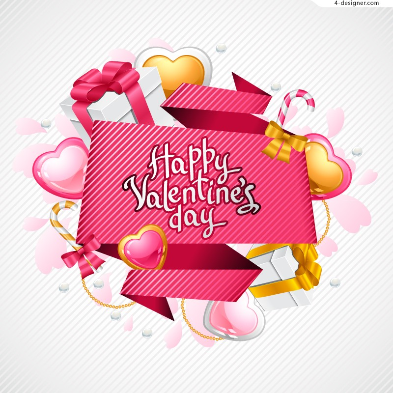 Creative Valentine s Day greeting cards vector material