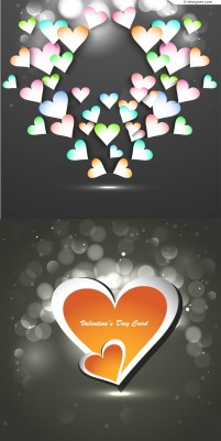 Creative Valentine s Day heart shaped paper cut vector material