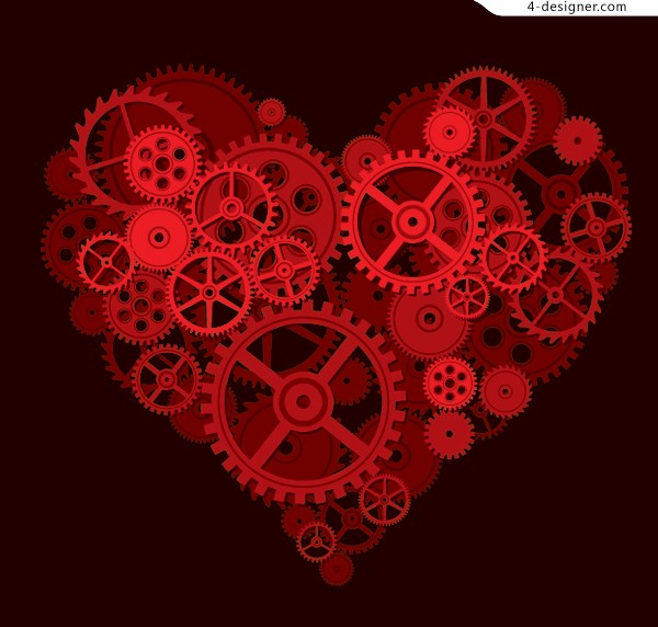 Creative heart shaped vector material composed by gears