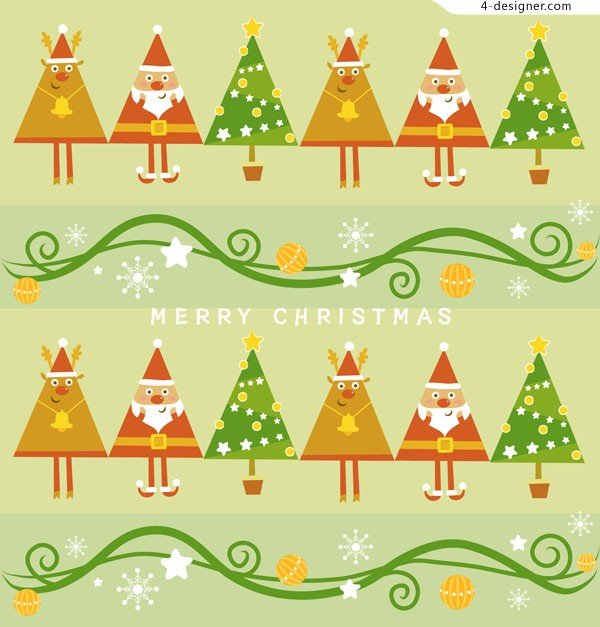 Cute Christmas background vector material