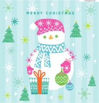 Cute Christmas snowman background vector material