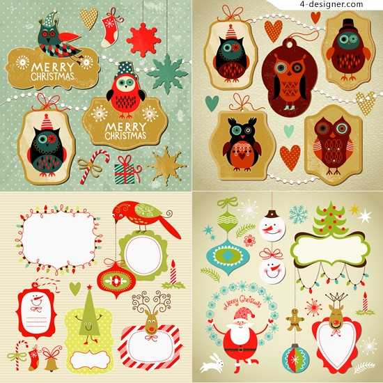 Cute Christmas theme vector material