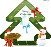 Cute Christmas tree vector material