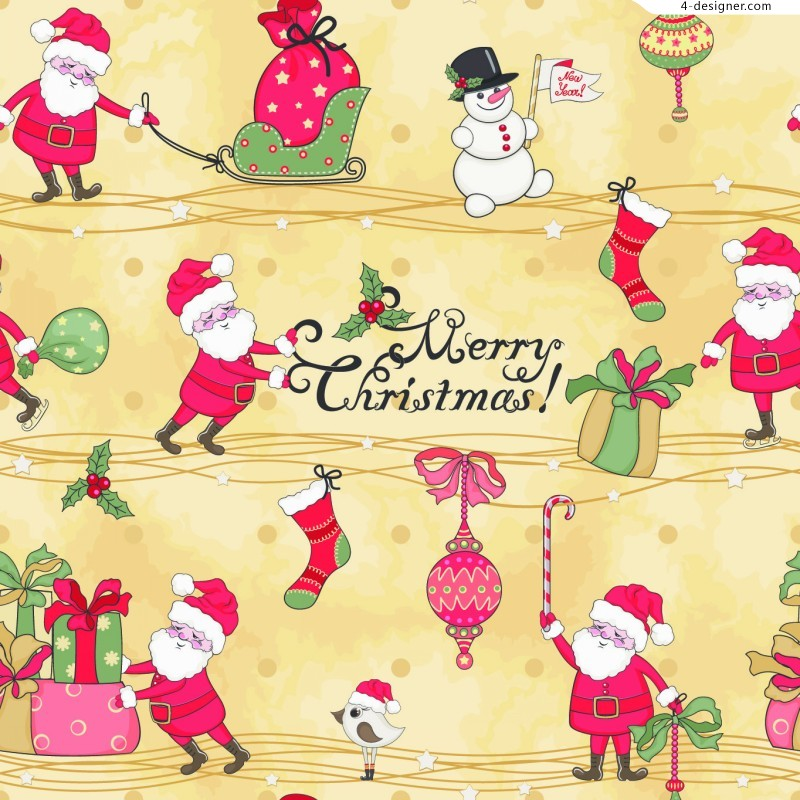 Cute Santa Claus background vector material