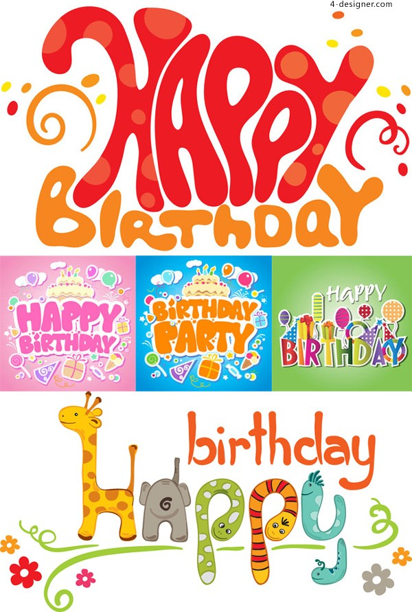 Cute birthday poster vector material