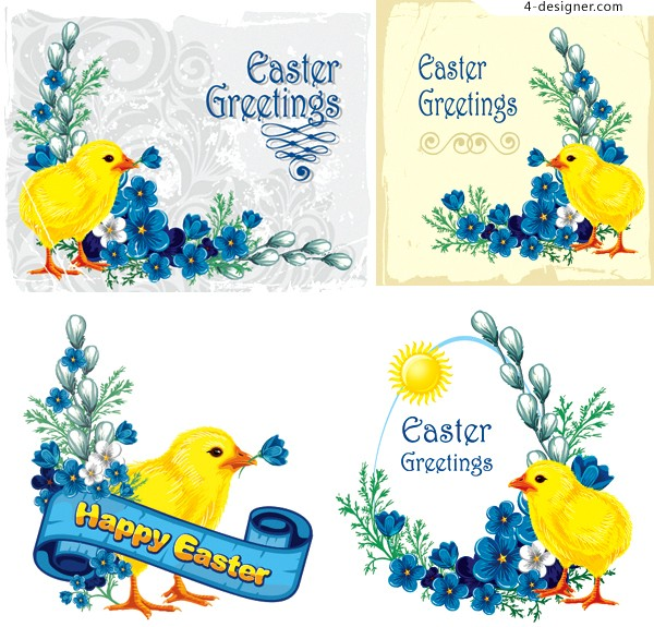 Easter card vector material