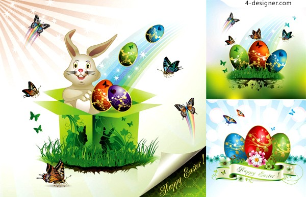 Easter eggs background vector material