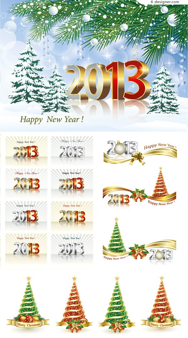 Exquisite 2013 New Year theme vector material