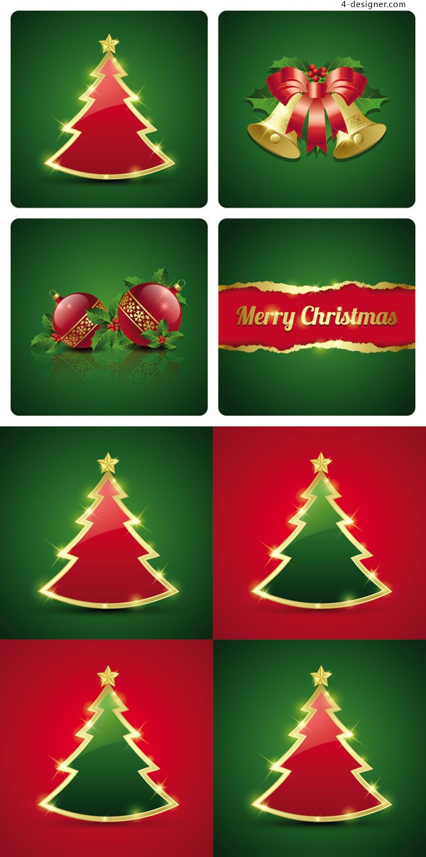 Exquisite Christmas card vector material