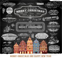 Exquisite Christmas chalk design vector material