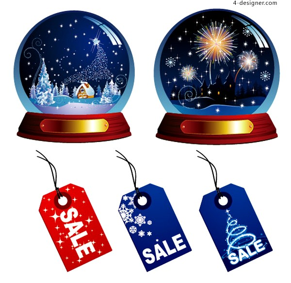 Exquisite Christmas crystal ball and sales tag vector material