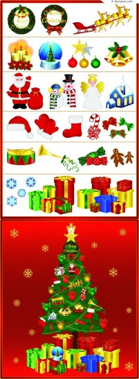 Exquisite Christmas element vector collection