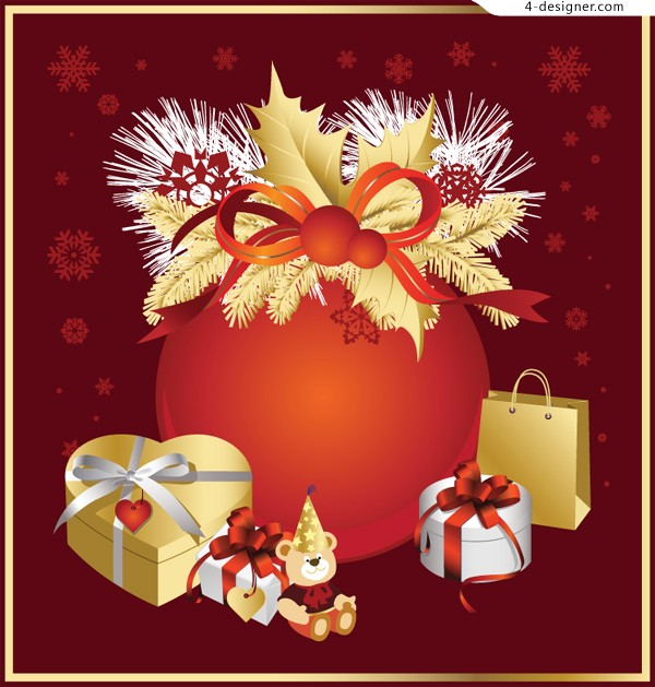 Exquisite Christmas gift vector material