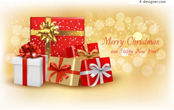 Exquisite Christmas greeting card cover vector material
