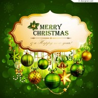 Exquisite Christmas hanging ornaments vector material