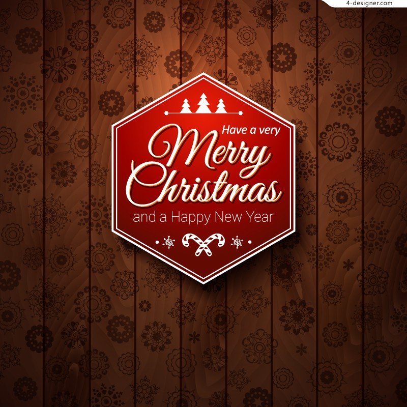 Exquisite Christmas label wooden illustrator vector material