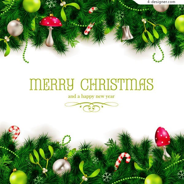 Exquisite Christmas pine background vector material