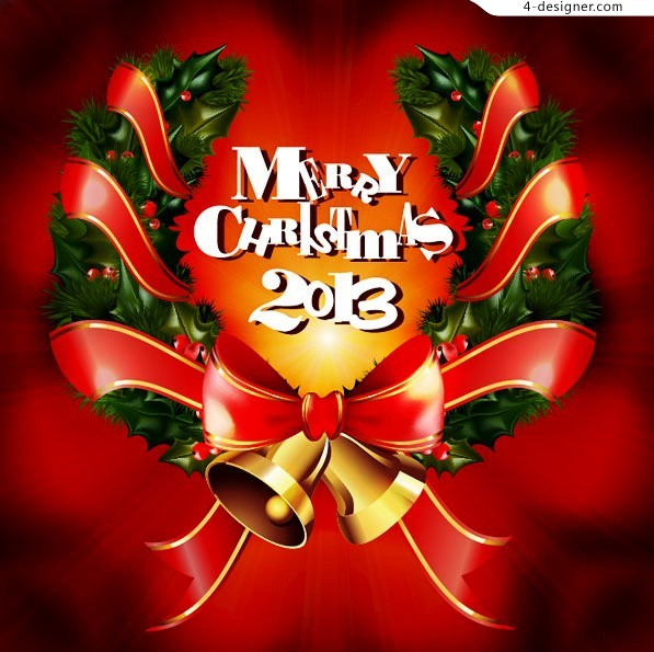 Exquisite Christmas ring vector material