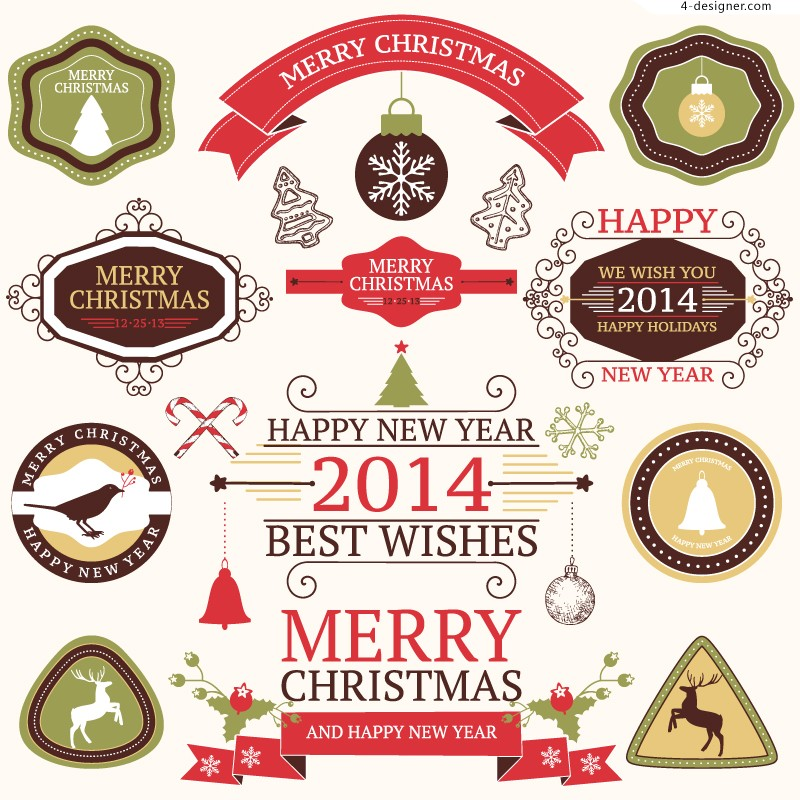 Exquisite Christmas tag vector material