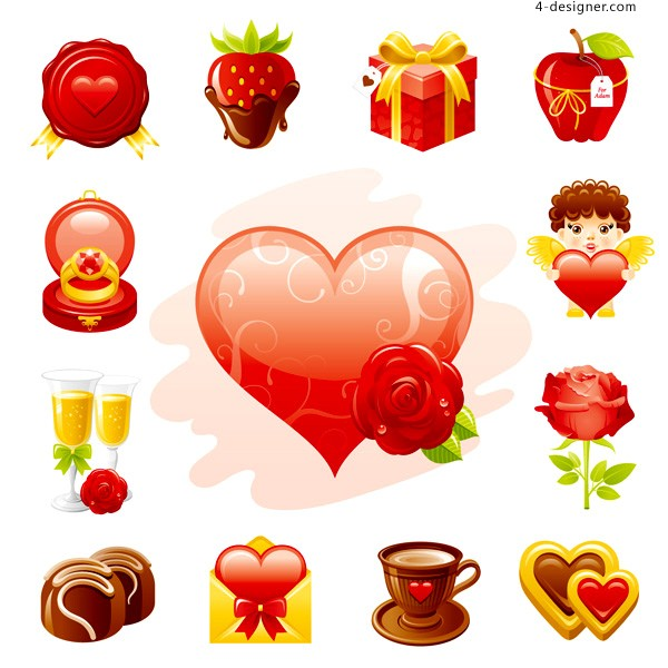 Exquisite Valentine s Day element vector material