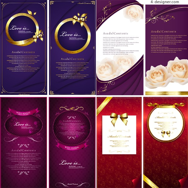 Fashion gorgeous vertical version of the card template vector material