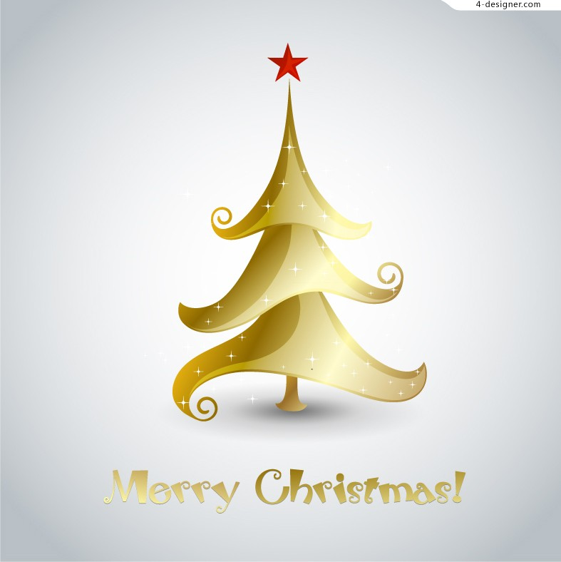 4 Designer Golden Christmas Tree Illustrator Vector Material