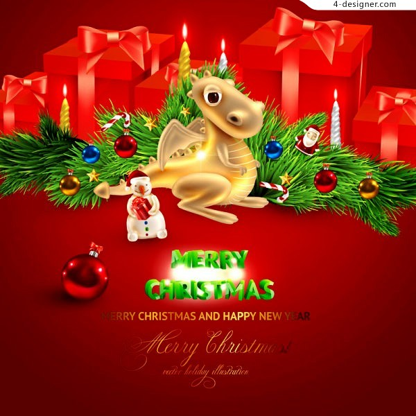 Gorgeous Christmas background vector material