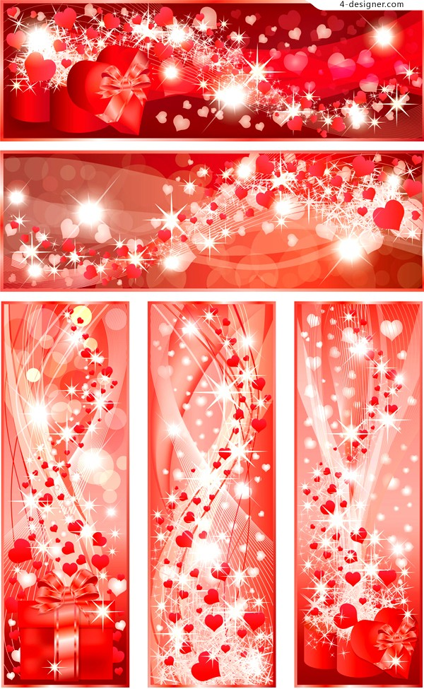 Gorgeous bright Valentine banner vector material