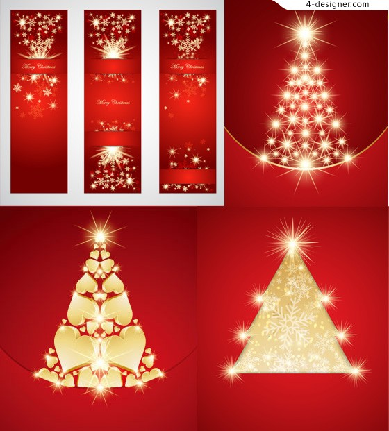 Gorgeous golden Christmas tree vector material