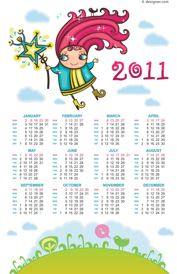 Hand drawn cartoon calendar 2011 vector