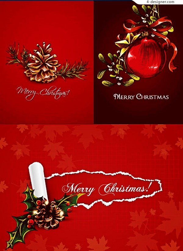Hand painted Christmas decorations vector material