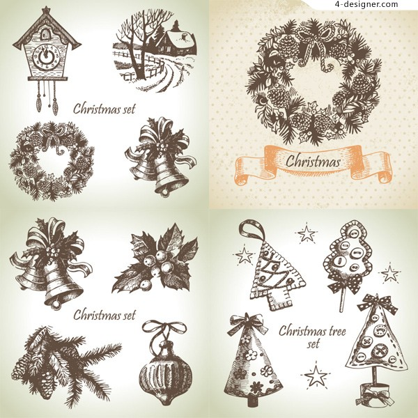 Hand painted Christmas element vector material