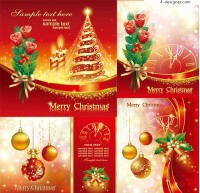 Happy Christmas red vector material