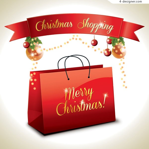 Happy Christmas shopping vector material