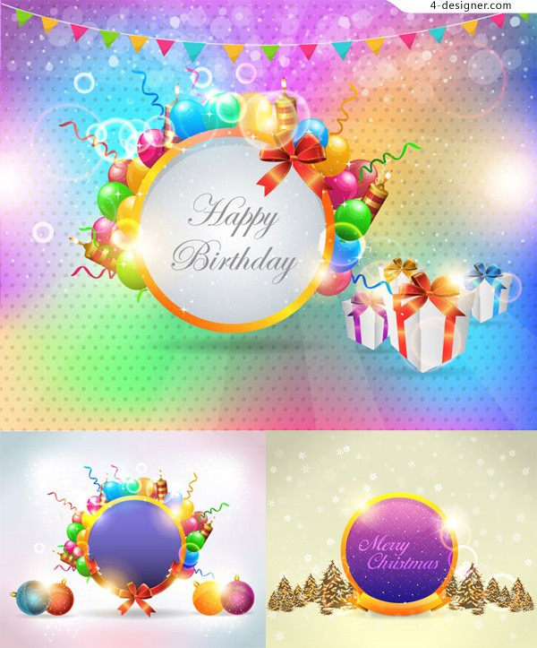 Happy holiday background vector material