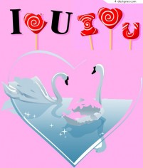 Heart shaped lollipop and white swan vector material