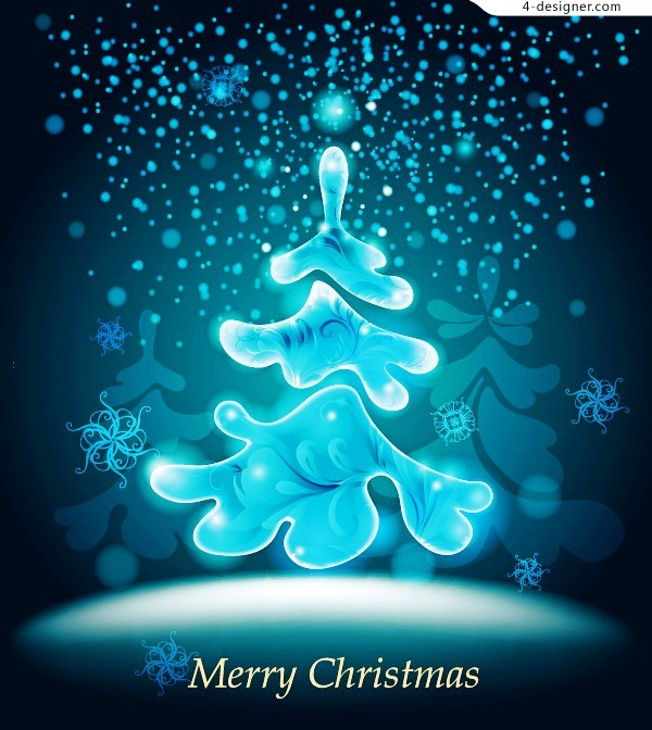 Icy blue Christmas tree vector material