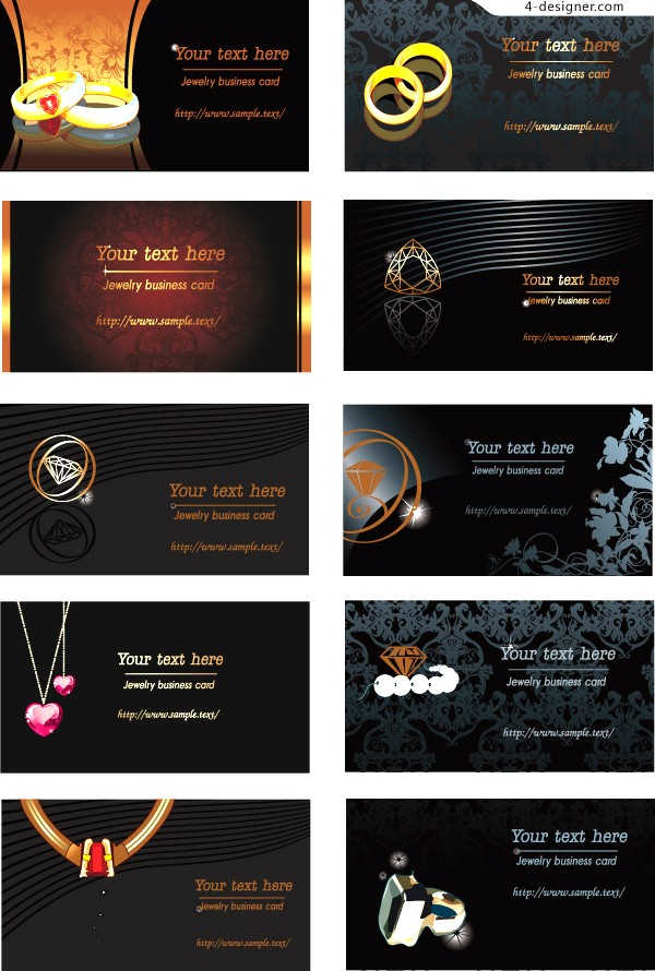 Jewelry theme business card template vector material